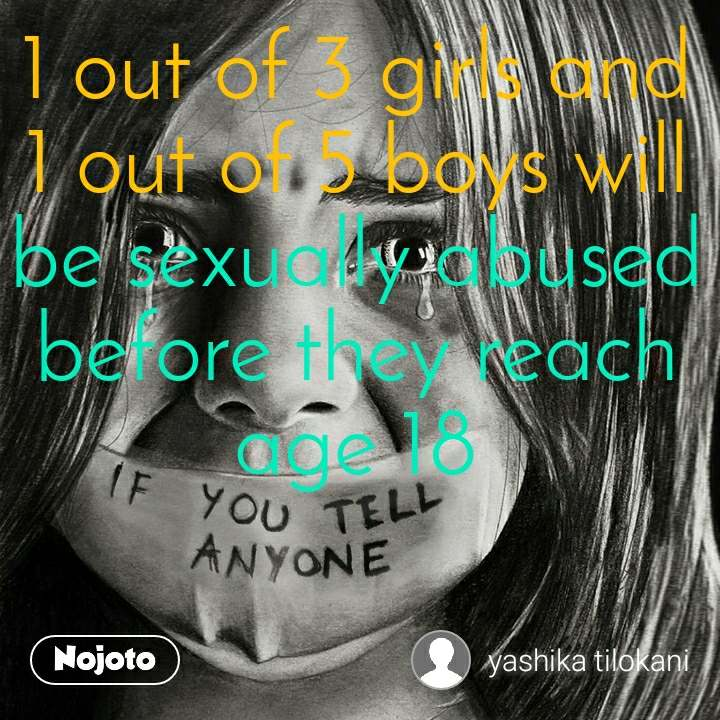 1 out of 3 girls and 1 out of 5 boys will be sexually abused before they reach age 18
