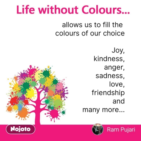 life without colours allows us to fill the  colours of our choice  Joy, kindness,  anger,  sadness, love, friendship  and many more... #NojotoQuote